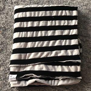 Copper Pearl Swaddle Blanket Black & White Stripe